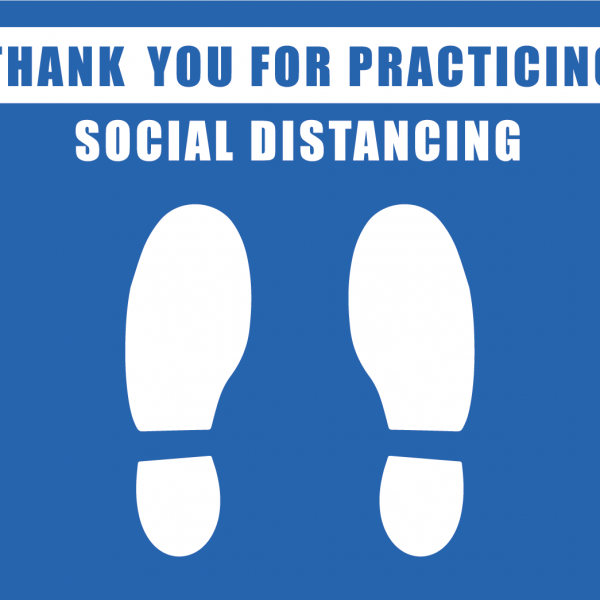 thank you for practicing social distancing blue