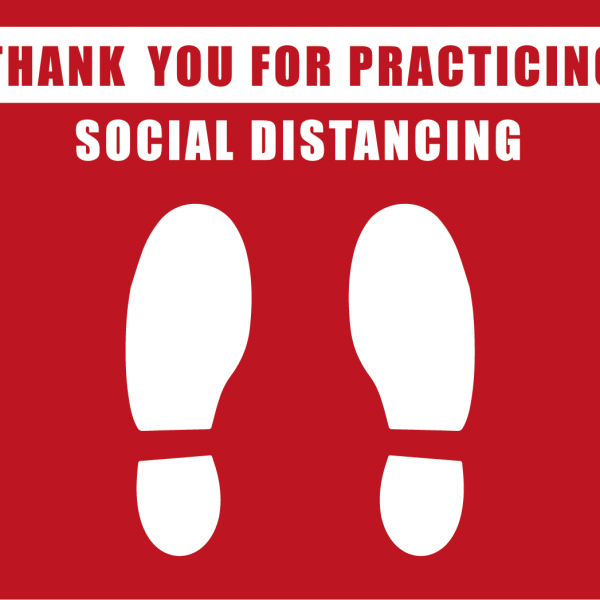 thank you for practicing social distancing red